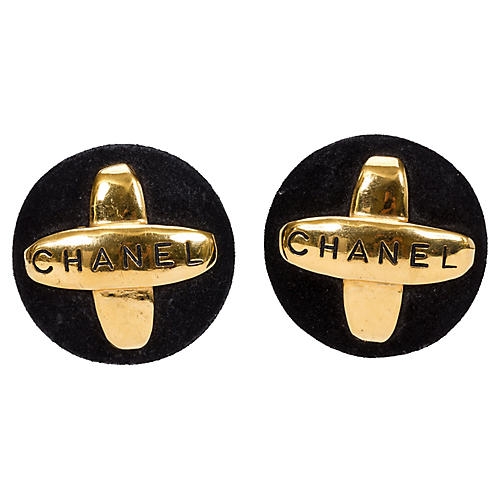 Chanel Suede & Gold Earrings