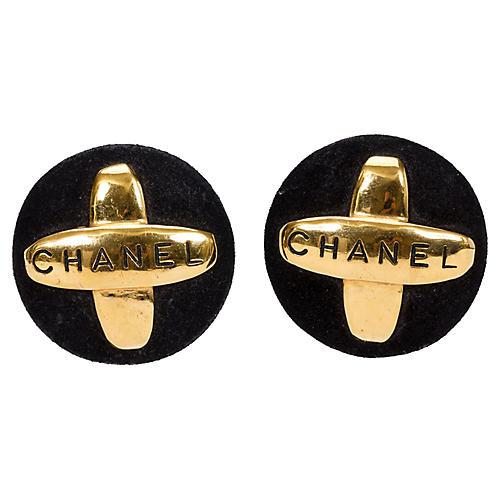 Chanel Suede & Gold Earrings