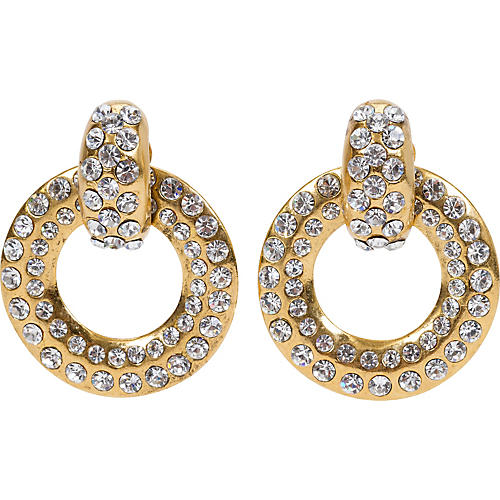 Chanel Rhinestone Gold Hoop Earrings