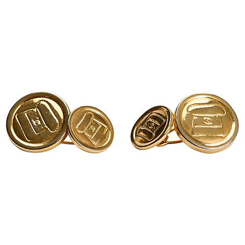 Chanel Gold-Plated Flap Bag Cufflinks