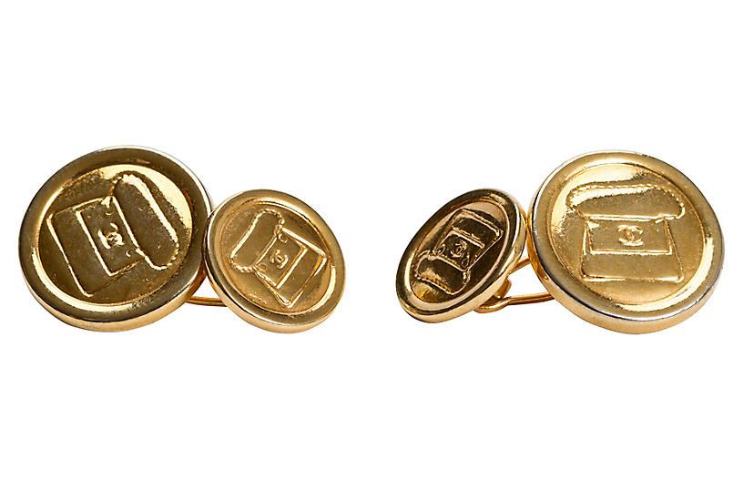 Chanel Gold-Plated Flap Bag Cufflinks