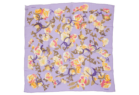 Chanel Purple Floral Chiffon Silk Scarf