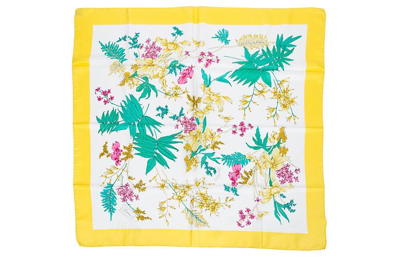 Gucci Yellow Accornero Floral Scarf