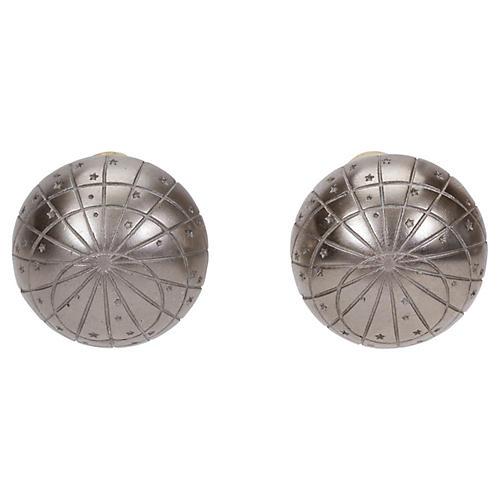Hermès Silver Dome Clip Earrings