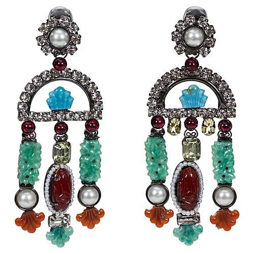 Vrba Multicolored Clip Back Earrings