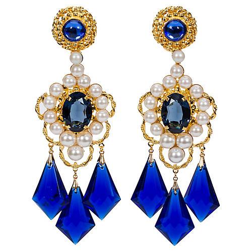 Vrba Blue Pearl Drop Earrings