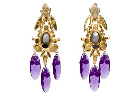 Vrba Gold Purple Earrings