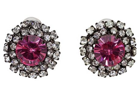 Vrba Pink Rhinestone Earrings