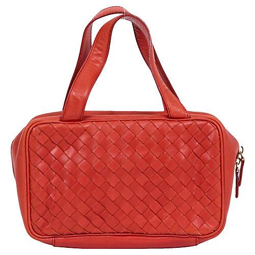 Bottega Rust Woven Zipped Handbag