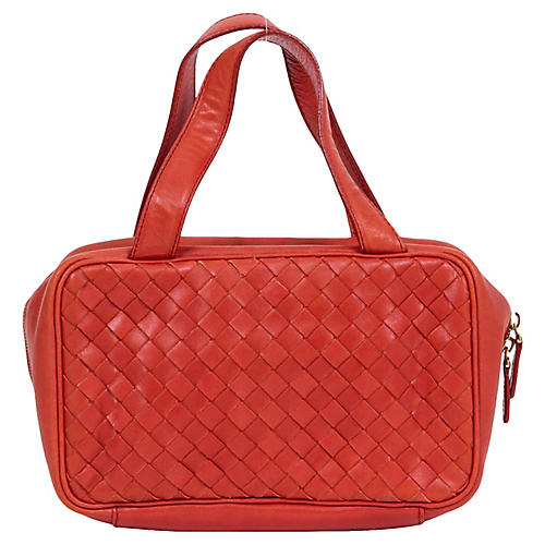 Bottega Rust Woven Zipped Handbag