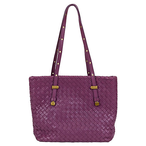 Bottega Veneta Purple Woven Medium Tote
