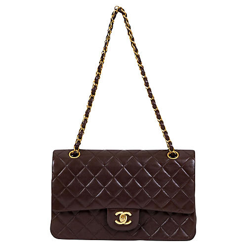 Chanel Brown Lambskin Double Flap 10""