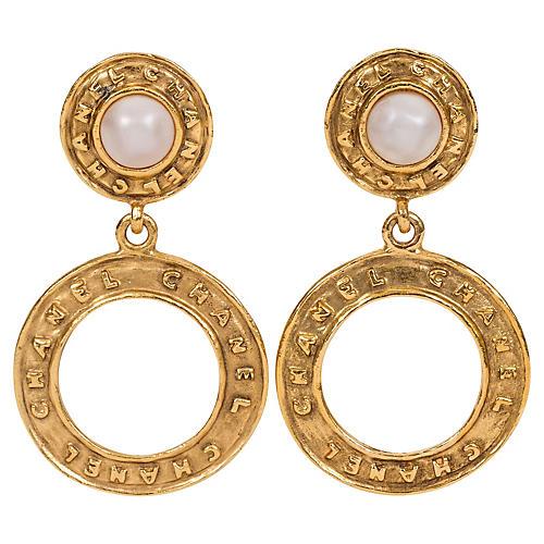 Chanel Pearl Hoop Dangle Clip Earrings