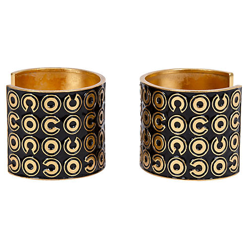 Chanel Black & Gold Cuffs, Pair