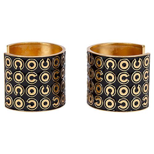 Chanel Black & Gold Cuffs, Pair