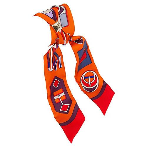 Hermès Orange Boucles Silk Twilly
