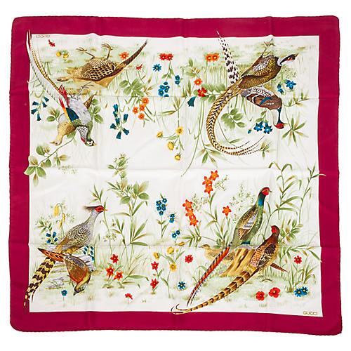 Gucci Silk Pheasant Floral Scarf