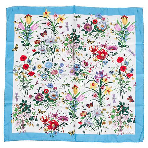 """Gucci Silk Twill 26"""" Floral Scarf"""