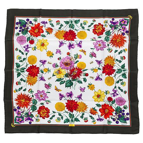 Gucci Black Silk Floral Scarf