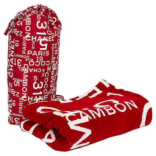 Chanel Red & White Beach Set