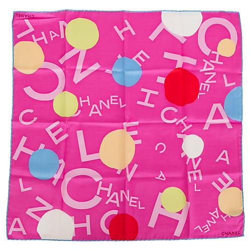 Chanel Hot Pink Logo Pocket Scarf