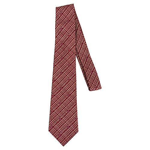 Chanel Red Metallic CC Logo Tie