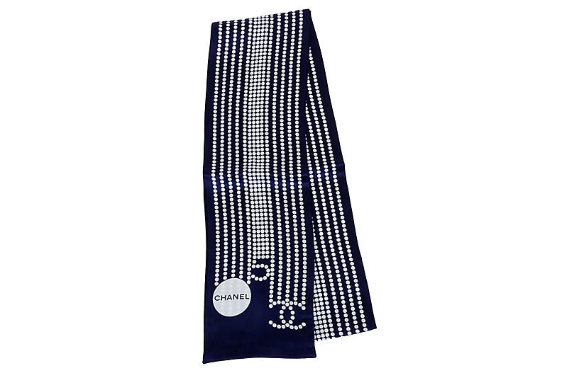 Chanel Double-Sided Navy Silk Scarf