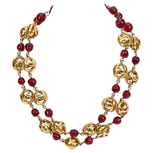 Chanel Double-Strand Red Gripoix Choker