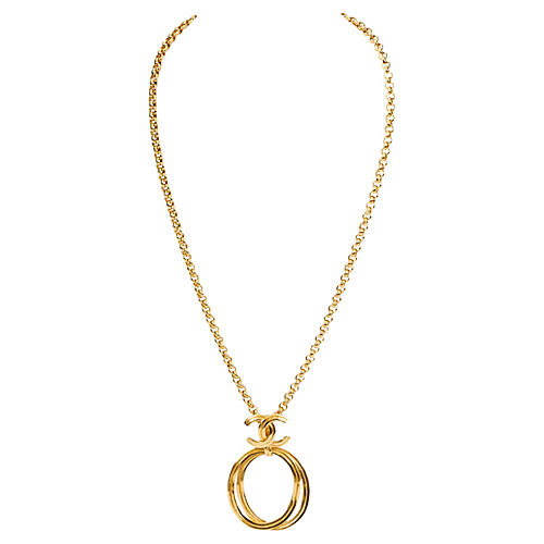 Chanel Double Loop Logo Necklace