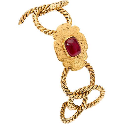 Chanel Braided Bracelet w/ Red Gripoix
