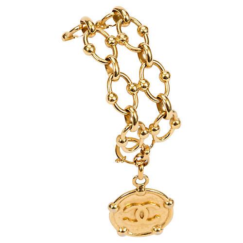Chanel Double-Chain Bracelet w/ Coin