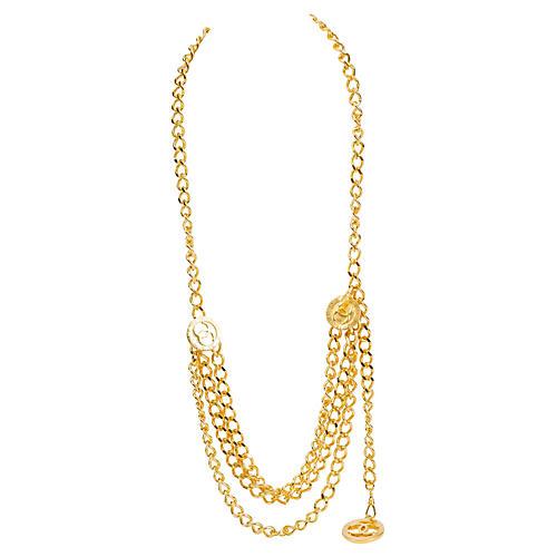 Chanel Triple Belt/Necklace w/Logo Coins