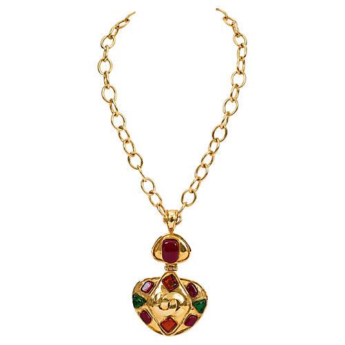 Chanel Rare Gripoix Pendant Necklace