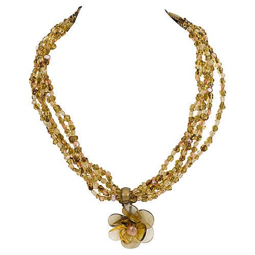 Chanel Multi-Strand Green Glass Necklace