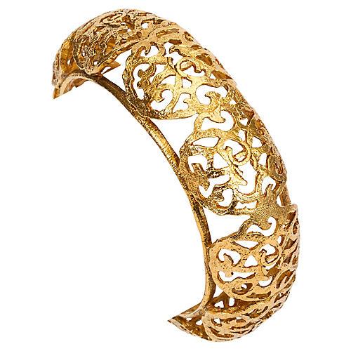 Chanel Goldtone Perforated Bangle
