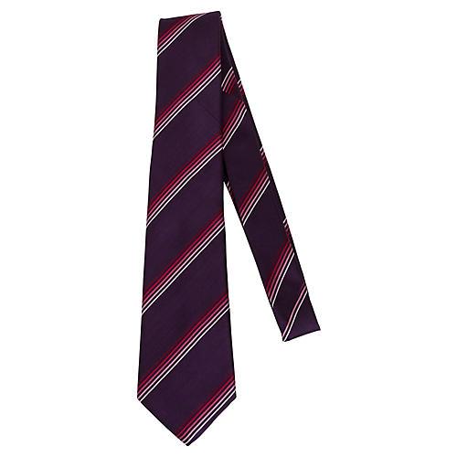 Louis Vuitton Plum Stripe Silk Tie