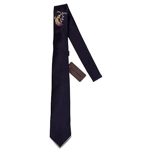 Louis Vuitton Navy Embroidered Silk Tie