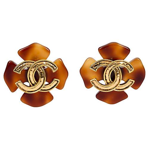 Chanel Faux-Tortoise Clover Earrings