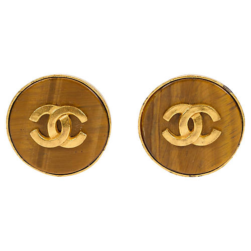 Chanel Round Tiger's-Eye Logo Earrings