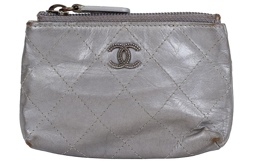 Chanel Silver Metallic Small Pochette