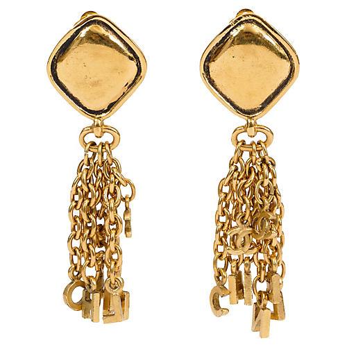Chanel Drop Letter Logo Clip Earrings
