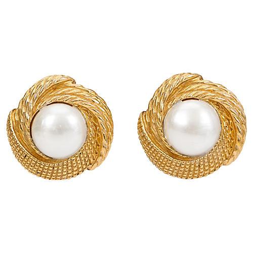 1970s Chanel Faux-Pearl Earrings