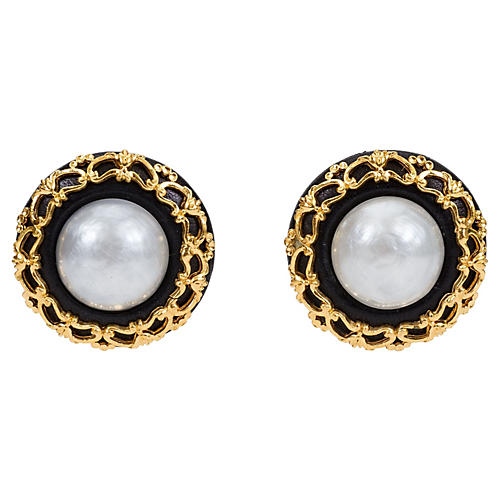 Chanel Leather & Pearl Brocade Earrings