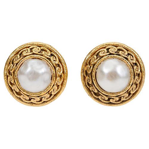 Chanel Pearl Satin Clip Earrings