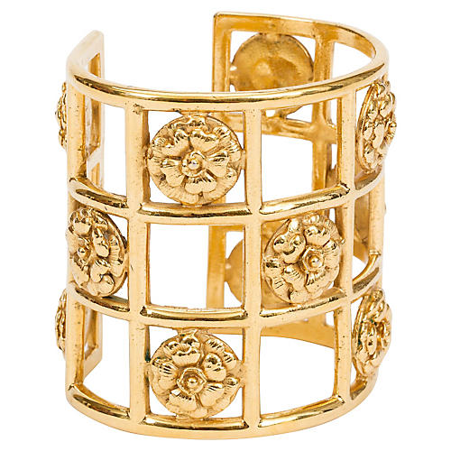 Chanel 70s Camellia Cage Cuff Bracelet