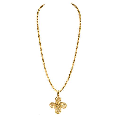 Chanel Satin Gold Clover Logo Necklace