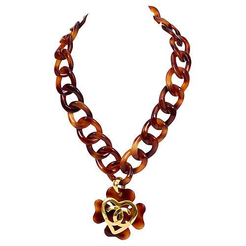 Chanel Heart Faux-Tortoise Necklace