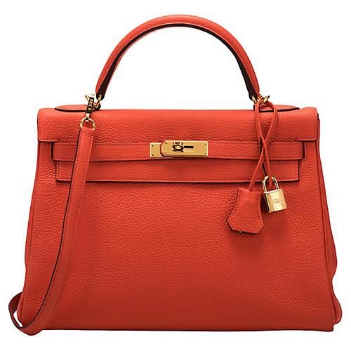 Hermès 32cm Feu Togo Kelly Bag