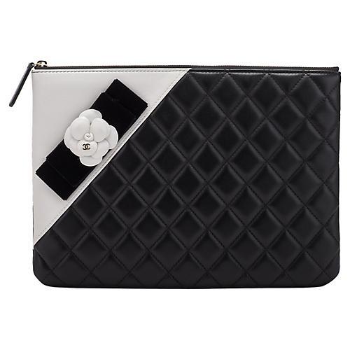 Chanel Black & White Camellia Clutch