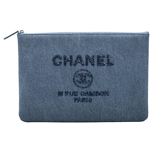 Chanel Large Denim Clutch w/Sequins